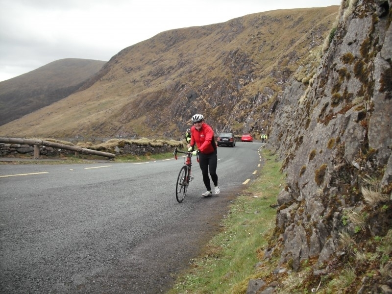 John O'Callaghan battling the wind Conor Pass